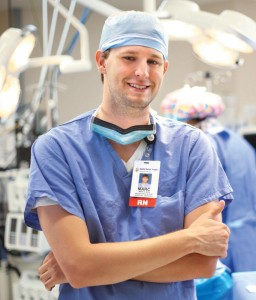 Marc Bein '13 works as a scrub nurse in the operating rooms of three Richmond hospitals affiliated with HCA Virginia.