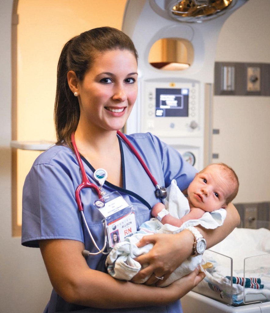 Allison Mitchell '13 decided to stay in Farmville, working in Centra Southside Community Hospital's birthing center, where she takes care of women in labor and newborn babies.