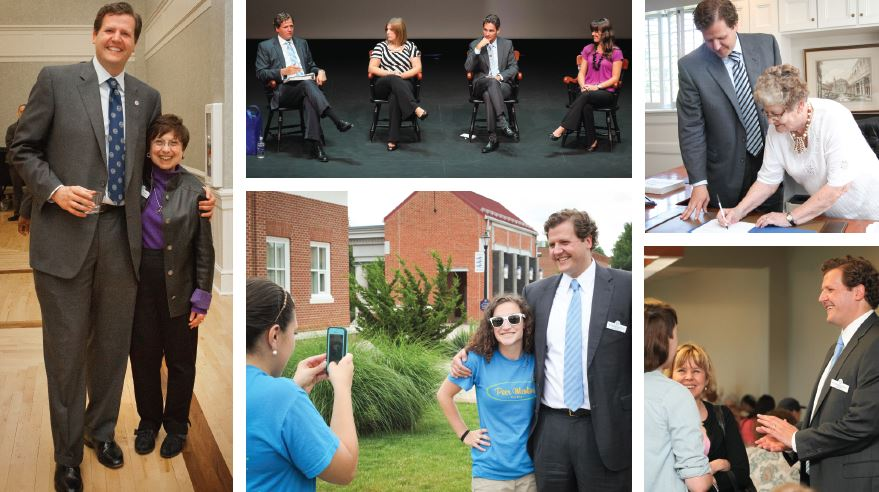 (clockwise from top left) President Reveley and Greenwood Library Dean Suzy Szasz Palmer share a smile over the difference in their heights. At the President'sWelcome in August, President Reveley takes questions from Staff Advisory Committee Co-chair Hannah McElheny Ledger '04 (second from left), Faculty Senate Chair David Lehr and Staff Advisory Committee Co-chair Allison Dobson '11. Former faculty member Nancy Andrews '59 signs paperwork related to the scholarship she created at Longwood. President Reveley chats with parents of new students at orientation. Peer mentors snag President Reveley for a photo op.