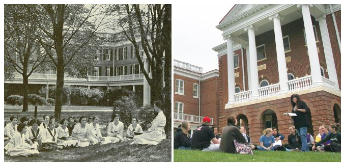 Longwood's picturesque campus is a place of inspiration for students and can serve as a welcome respite from the four walls of a classroom. This 1902 English class met outside, a tradition that Professor Mary Carroll-Hackett continues today.
