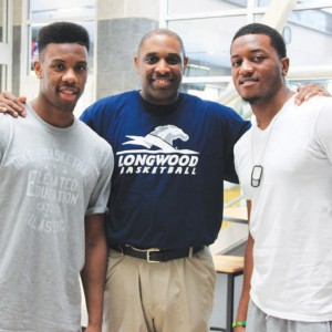 NBA point guard Norris Cole (left), who has spent two seasons with the back-to-back NBA champion Miami Heat, and development league player D'Aundray Brown (right) stopped by the Longwood campus in July to visit first-year men's basketball head coach Jayson Gee, who coached both players at Cleveland State. 'I think our players see it can be done,' said Gee, in reference to the visit. 'They don't have to be that guy like LeBron James, who's highly publicized.Through hard work, togetherness, submission and all those things that are our core values, you can make a successful transition to the next level.'