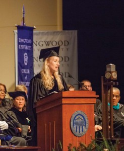 Recently elected Board of Visitors Rector Colleen McCrink Margiloff '97, speaking at Convocation in 2012