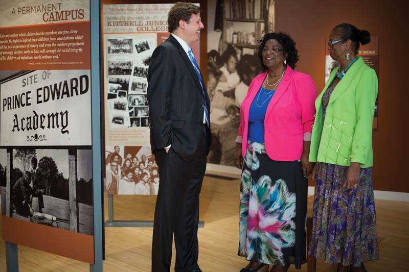 President W. Taylor Reveley IV with Joy Cabarrus Speakes (right), a member of the Moton Museum Board of Trustees, and Dorothy Holcomb, chair of the Moton Council, the museum's local advisory, outreach and volunteer management arm. Holcomb was a student when the Prince Edward County schools were closed from 1959-64. Speakes was one of the student strikers at Moton High School in 1951 as well as a plaintiff in the landmark case Brown v. County School Board.