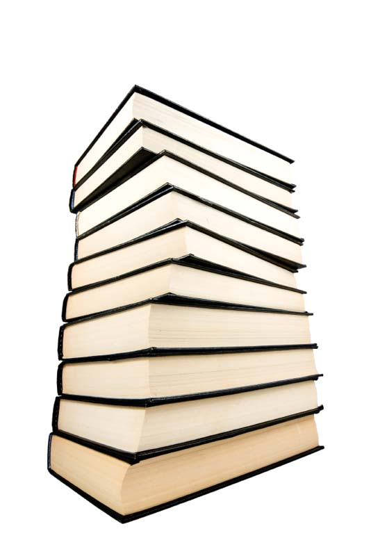 Stack of black  books isolated on the white background.