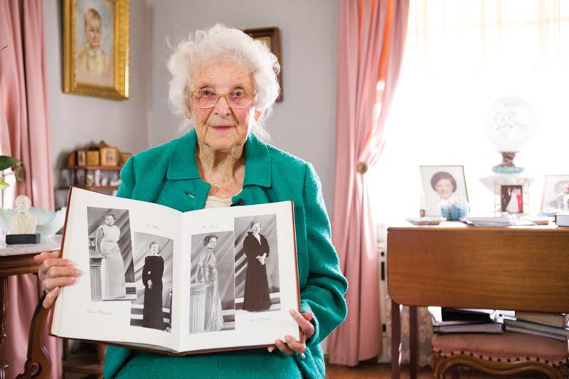 Agnes Crockett Davis '36 shares her senior portrait as published in the 1936 Virginian. She celebrated her  100th birthday on Jan. 18, 2014. In the yearbook she's holding, her photo is on the far right.