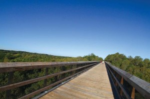 The historic High Bridge Trail, offering expansive views from the  bridge itself, is accessible from downtown. More than 200,000 people  visited the trail last year.