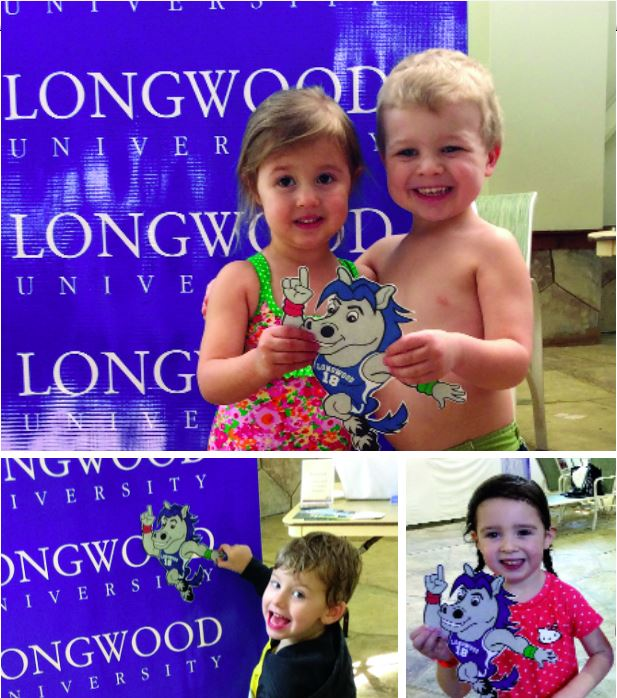 (clockwise from the top) Lily Kate Charlish, 3, daughter of Mary Charlish '04, and Landon Burgess, 3, son of Tom '01 and Joelle Burgess '02; Molly Johnson, 4, daughter of Randall '01 and Sarah Johnson '02; and Silas Perkins, 4, son of Paul and Nicole Wright Perkins '05, enjoyed Elwood and getting wet at the Great Wolf Lodge Alumni Weekend.