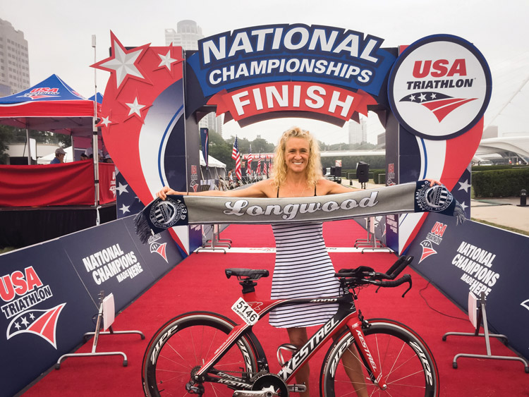Catherine Hanson celebrates her qualifying time.