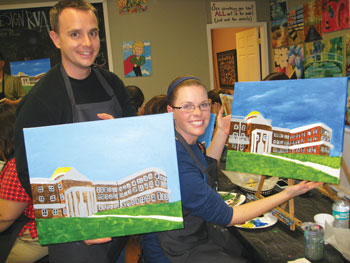 "One popular new activity is ""Wine & Design,"" where participants like Lindsey Mier Bigelow '08 and her husband, Marshall, sip wine, take a brief group lesson from an artist and paint a picture of the Rotunda."