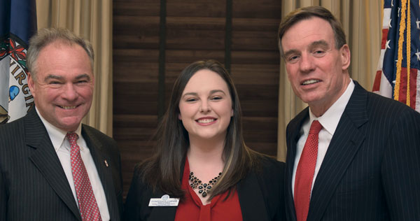 Constance Garner '16 meets with U.S. Sens. Tim Kaine (left) and Mark Warner
