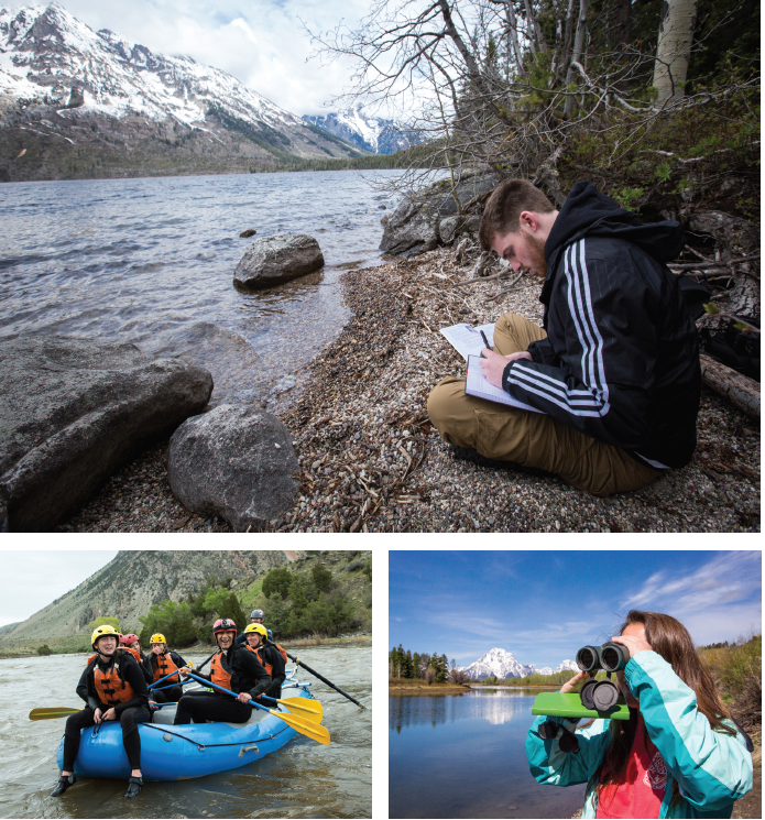 (top) Eric Lewis '18, an integrated environmental sciences major from Centreville, sharpens his skills of observation as he records his impressions of the landscape at Jenny Lake in Grand Teton National Park. (bottom right) Tori Ragland '17, a biology major from Sterling, pauses to identify wildlife in the Greater Yellowstone Ecosystem. (bottom left) A whitewater rafting trip on the chilly Yellowstone River was part of an effort to discover the role of tourism in supporting the region's economy as well as its impact on the environment.