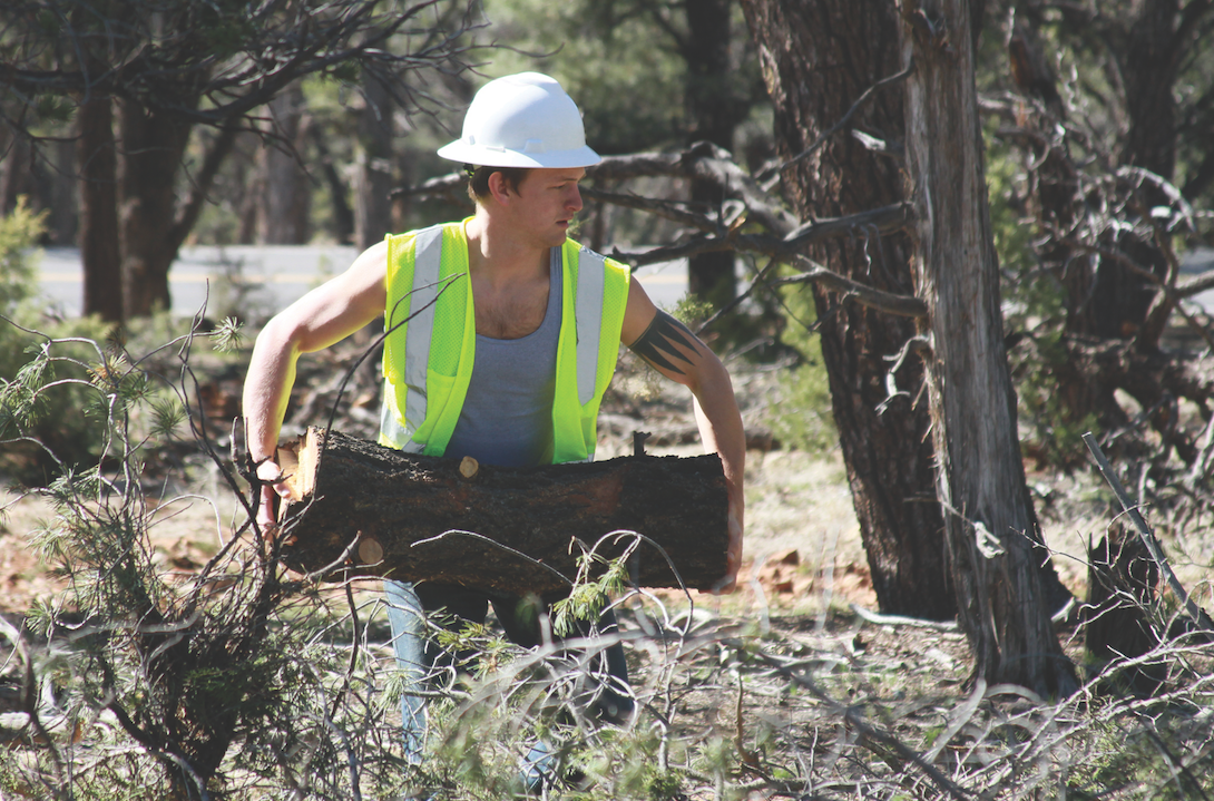 Russell Reed '16, an anthropology major from Onemo, clears dry brush at Grand Canyon National Park.