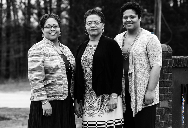 Longtime Longwood faculty member Dr.Theresa Clark (center) instilled a love of education in her daughters Shelly Clark-Reed (left)