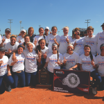 The softball team celebrates its third Big South Conference title before going on to the NCAA Tournament, where it reached the regional championship game.—photo credit Tim Cowie