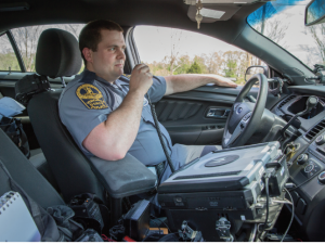 State Trooper Travis Lewis '10, working in Amherst County, likes the 'freedom of the open road.'