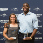 Sarah Butler '16, an exercise science major from Melbourne, Australia, and men's basketball stalwart Lotanna Nwogbo '16, a kinesiology major from Lithonia, Georgia, were named Longwood Athletes of the Year.