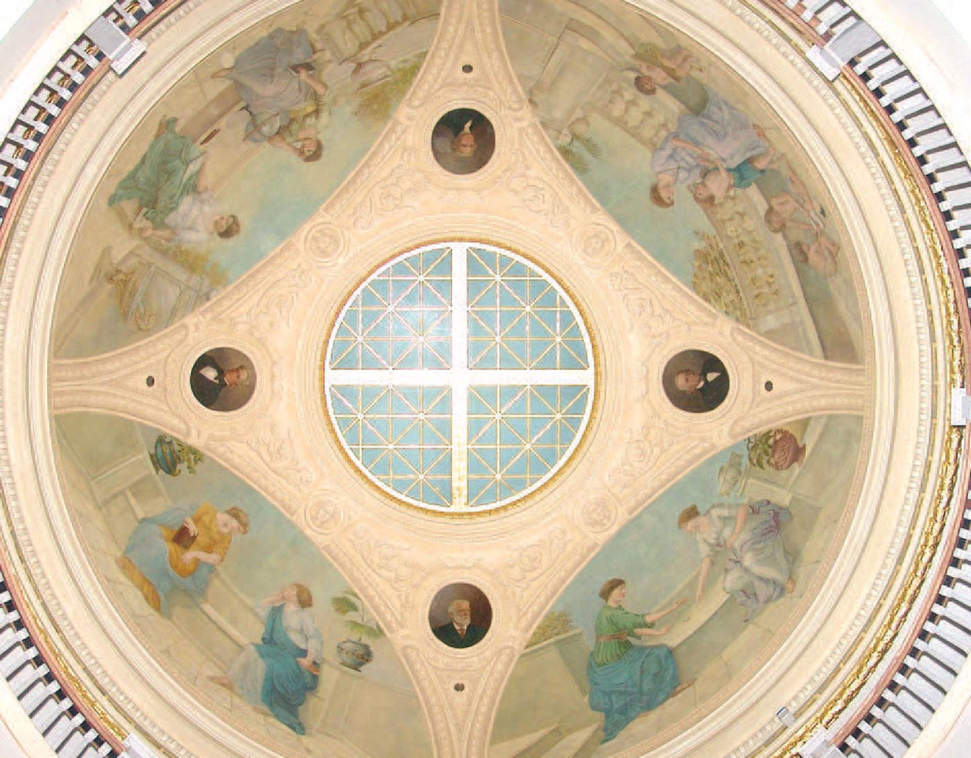 Eugene B. Monfalcone's paintings in the dome of the Rotunda of Ruffner Hall depict the foundations of learning.