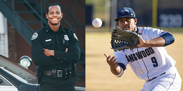 When he's not in class or on the diamond, Janos Briscoe '17 is a reserve police officer and volunteer firefighter.