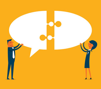 Illustration featuring a man and woman fitting a chat bubble together like a puzzle piece