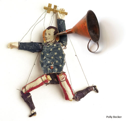 Assemblage by Polly Becker entitled Pupetmaster